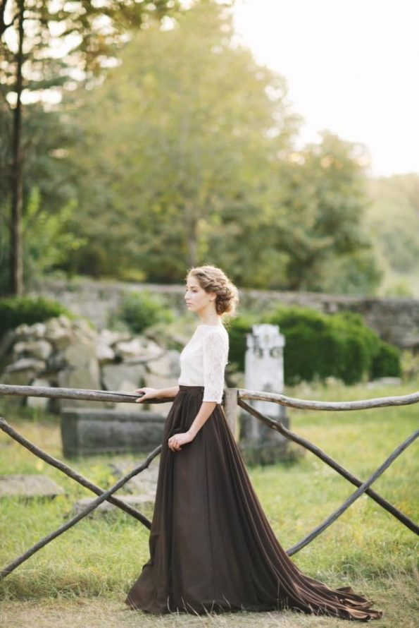 Сhocolate brown illusion neckline wedding dress