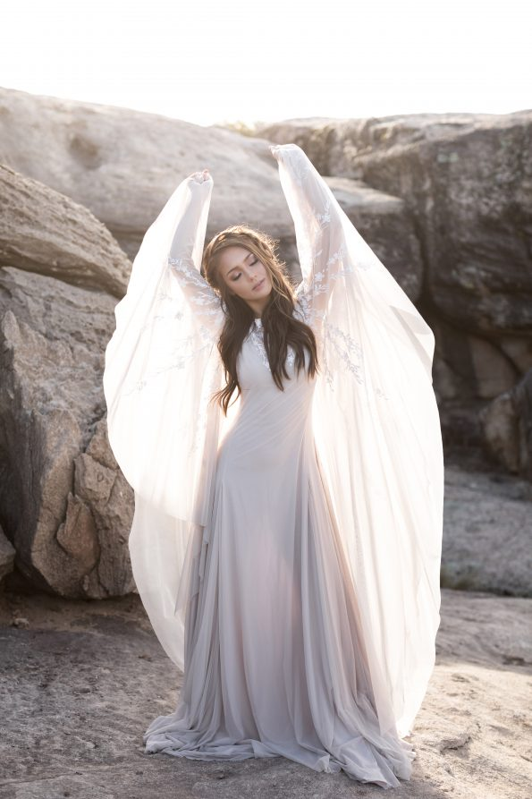 Batwing sleeve wedding dress