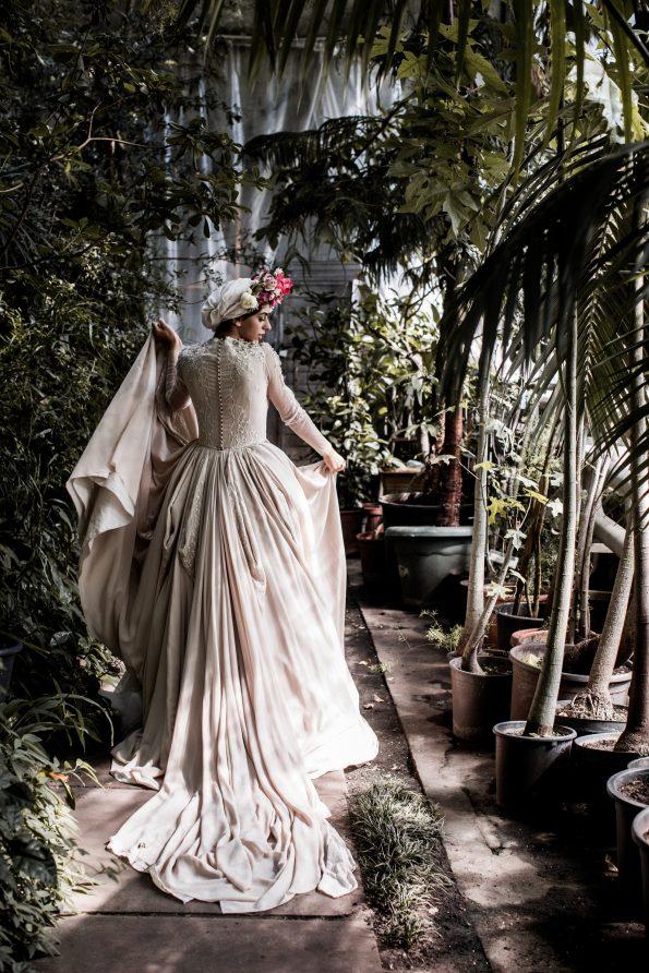 Ball-gown beige wedding dress
