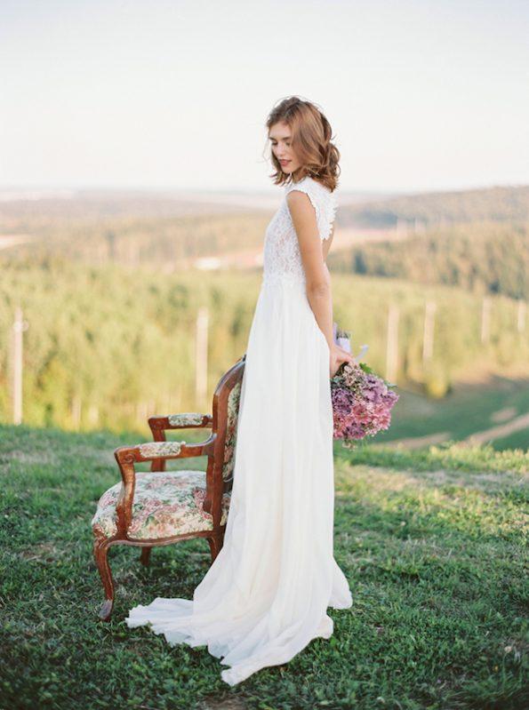 Off-white open back wedding dress