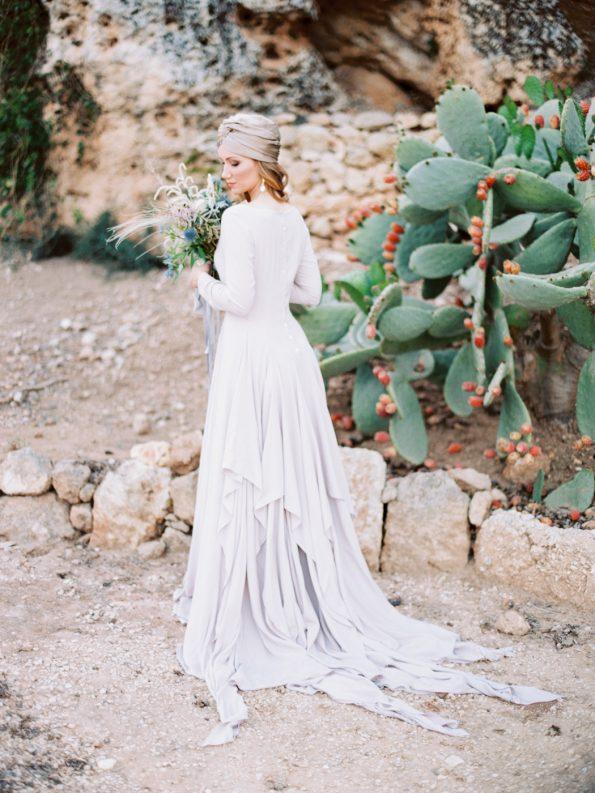 Nude cotton wedding dress