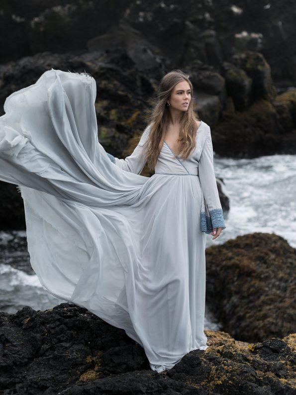 Blue v-neck wedding gown