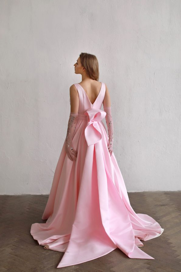 Pink wedding dress with a-line skirt